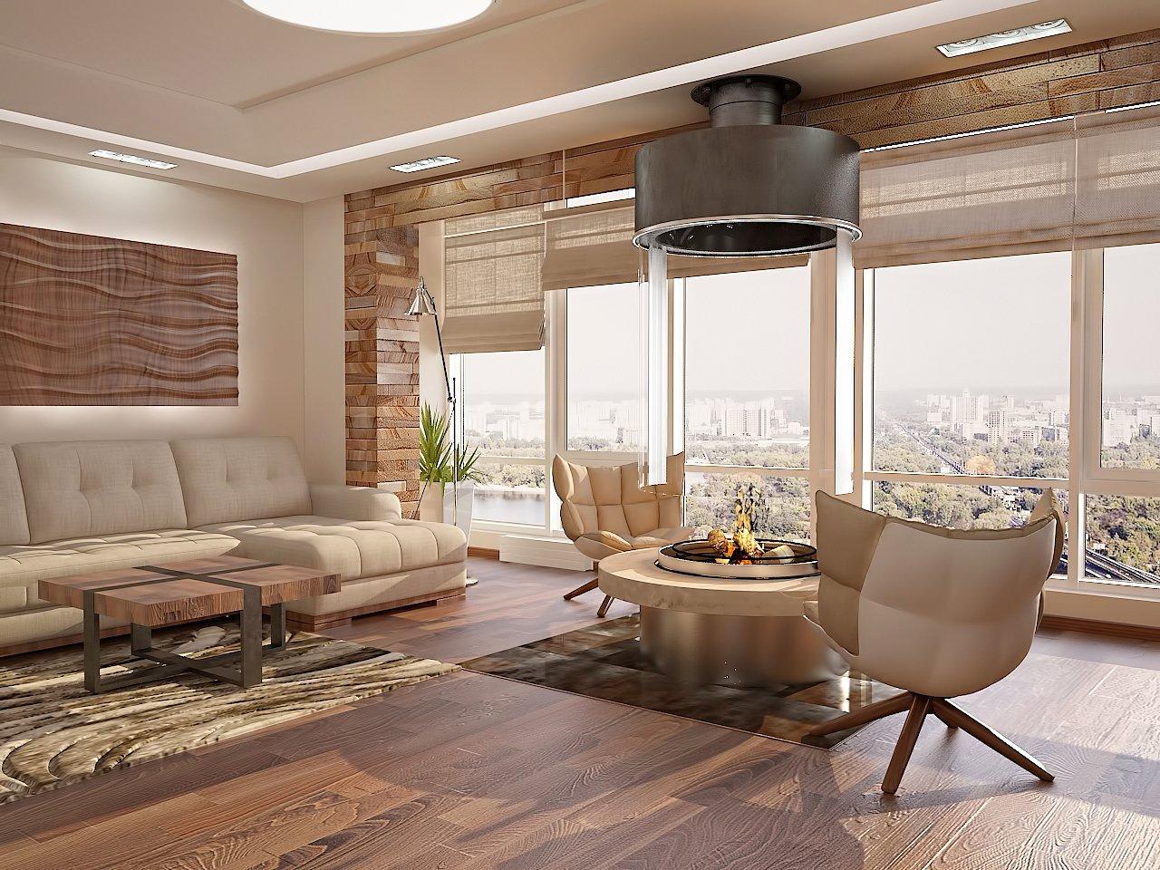 Дизайн нтерьера гостинной Киев камин, панорамные окна