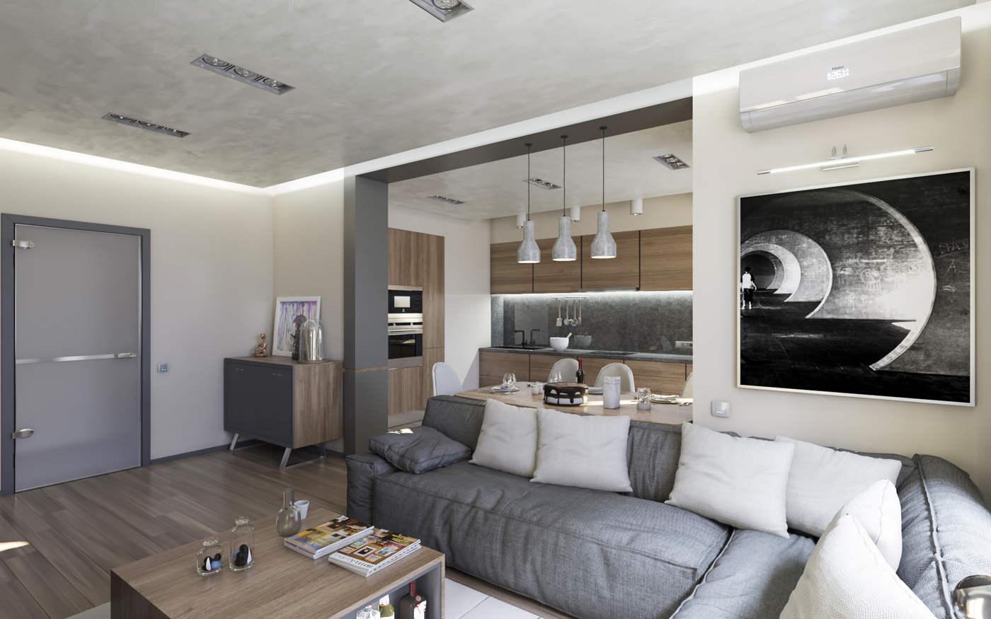 Дизайн кухни в квартире Киев скандинавский стиль ЖК Малахит Богдановская ул.