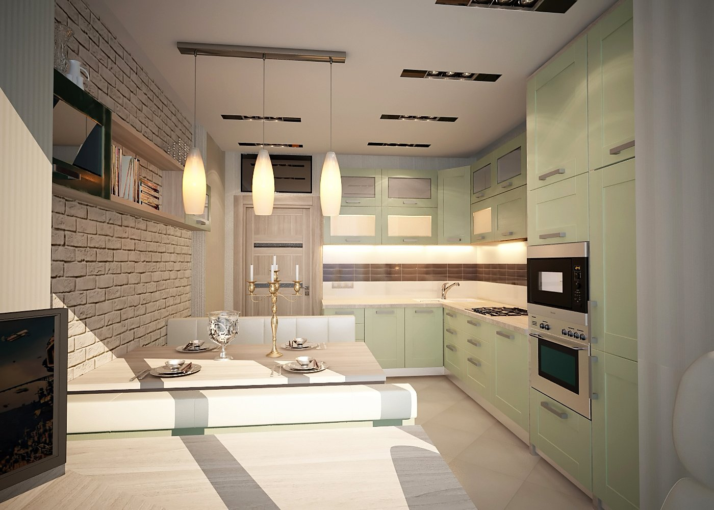 Дизайн кухни в квартире Киев эклектика, современный стиль прованс