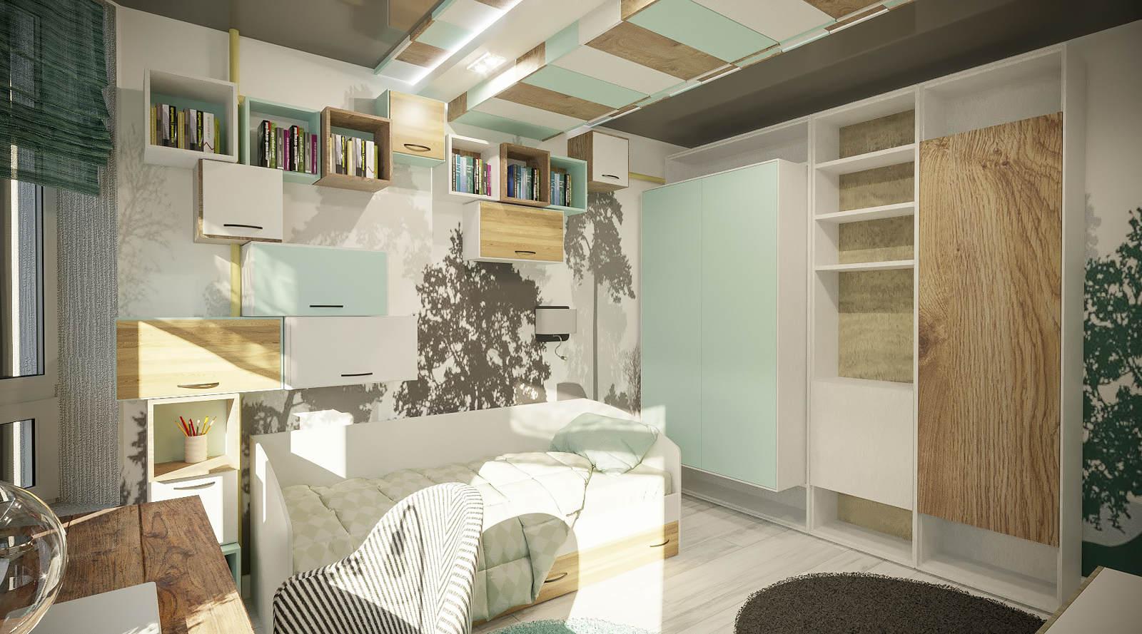 Дизайн детской комнаты Киев современный интерьер, декор на стенах модерн, идеи, подростковая спальня