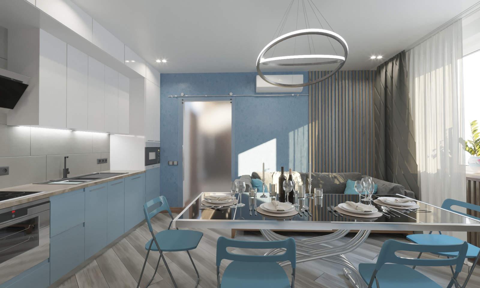 Дизайн кухни гостинной Киев в синем цвете, современный стиль