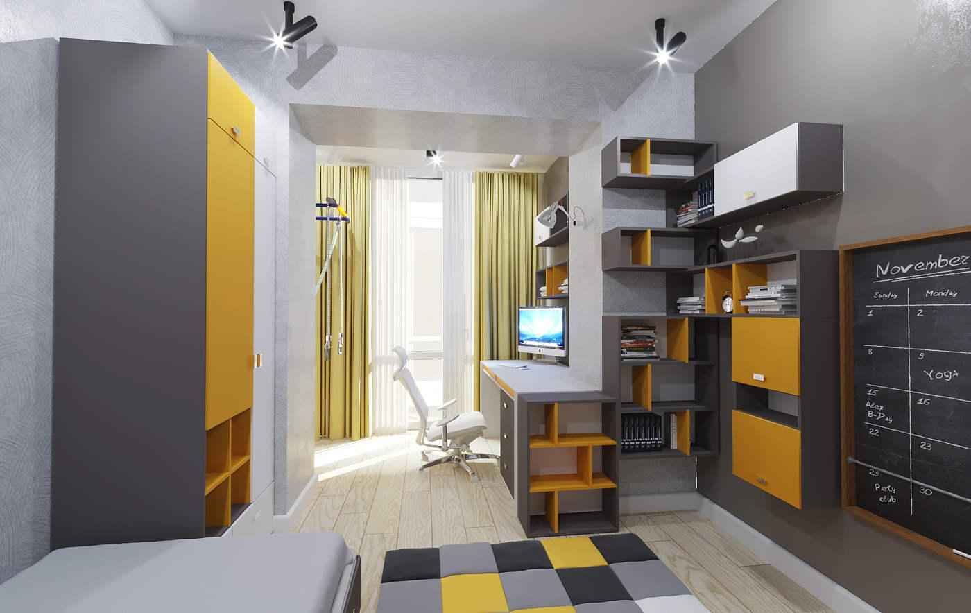 Дизайн детской комнаты Киев рабочее место лофт современный стиль идеи стильная интересное решение доска для мела на стене для подростка