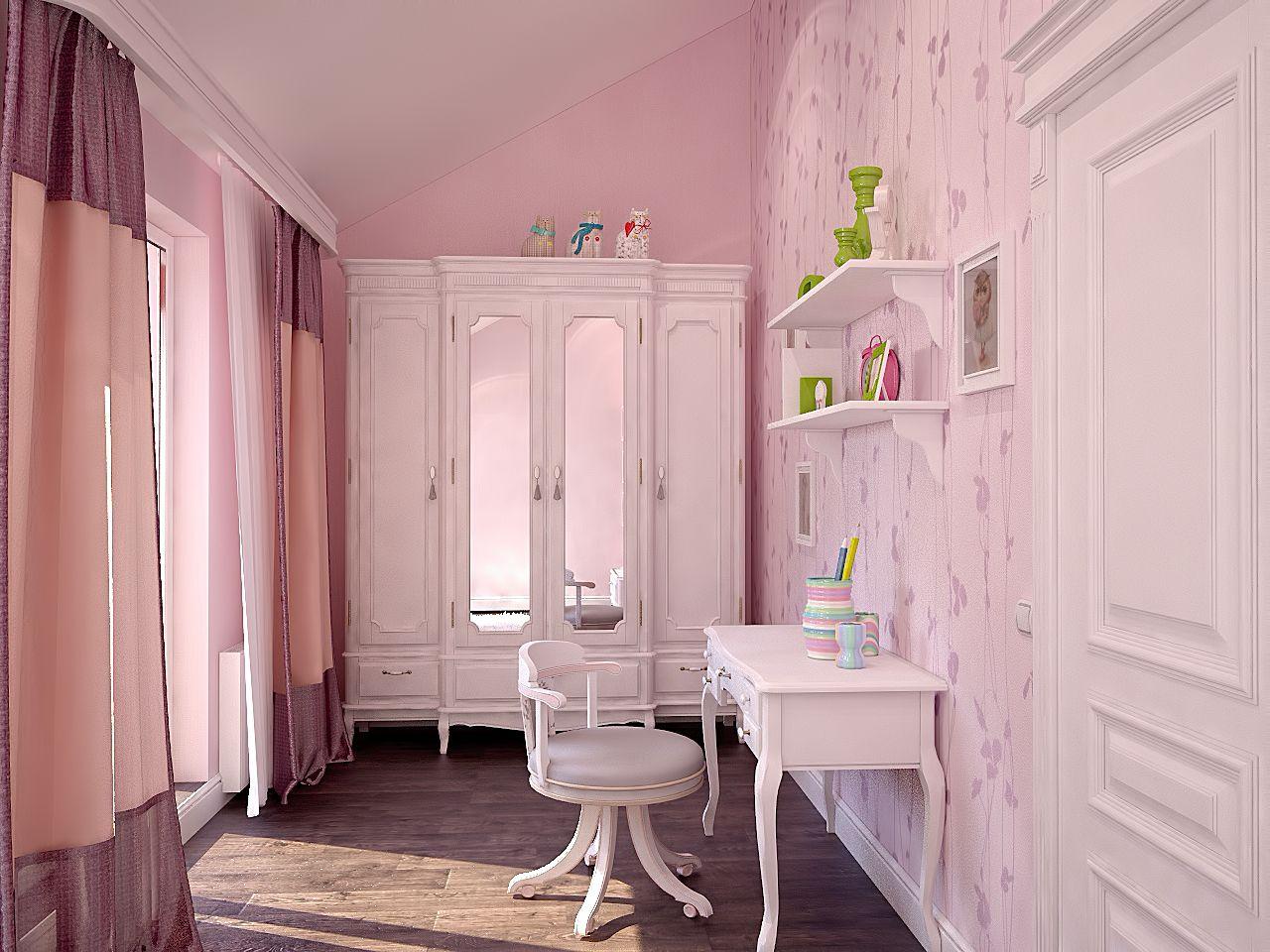 Дизайн детской комнаты для девочки фото Киев прованс, легкая класика