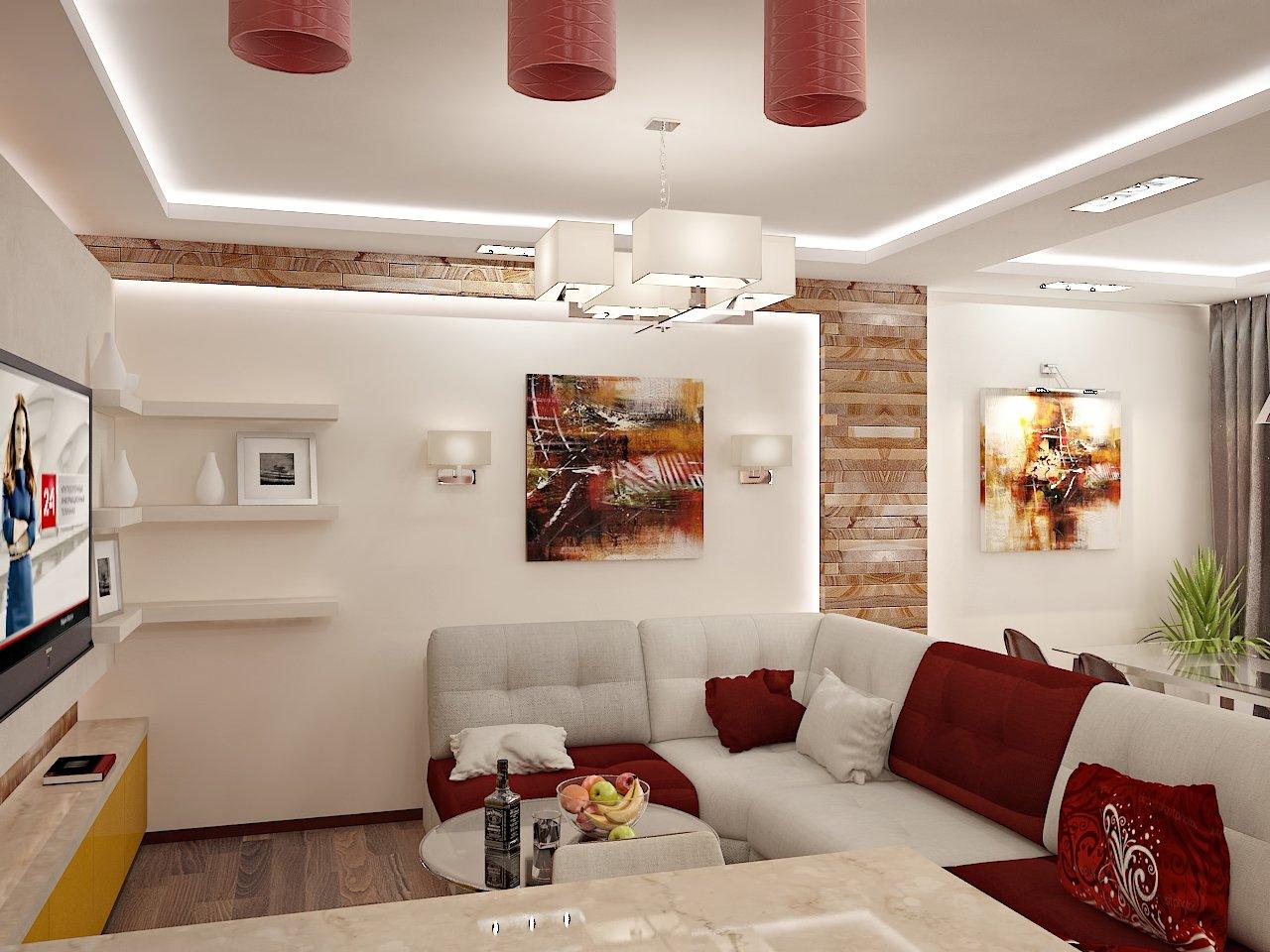 Дизайн гостинной в Киеве ЖК Отдых