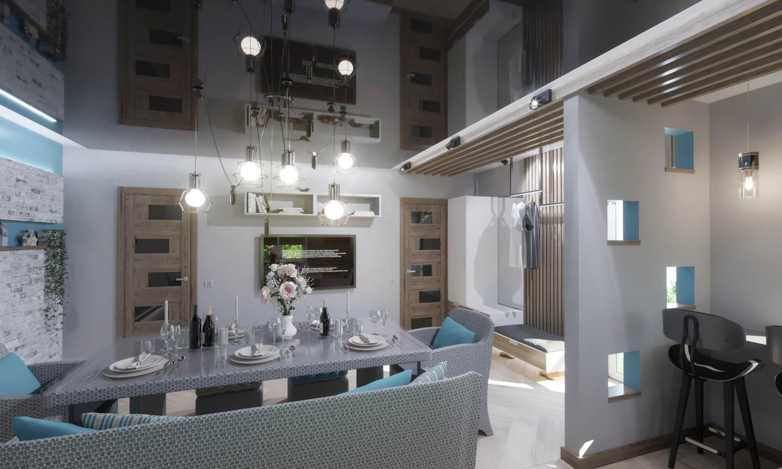 Дизайн нтерьера гостинной Киев современный стиль натяжные потолки