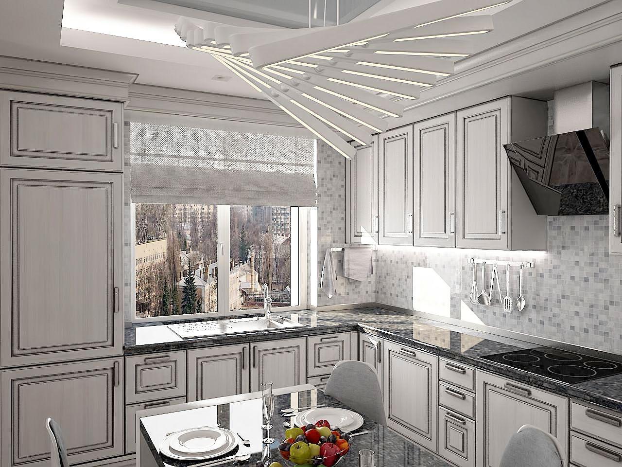 Дизайн кухни в серых тонах фото Киев. ЖК Липинка, скандинавский стиль