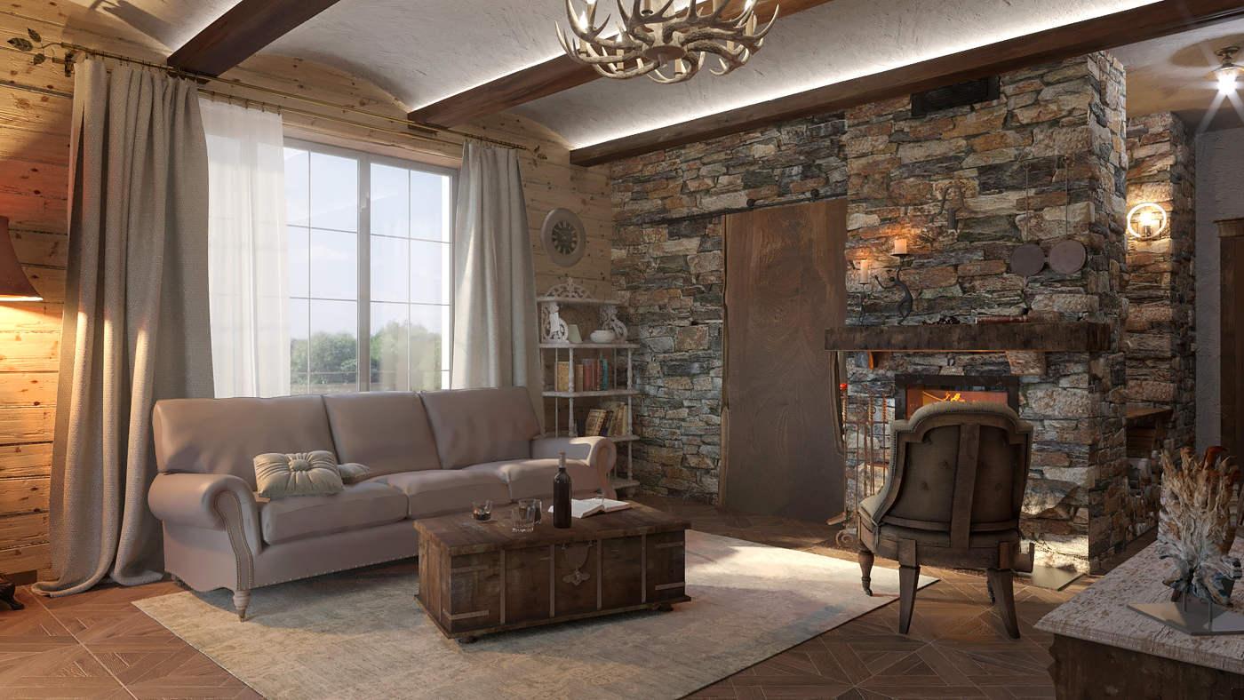 Дизайн нтерьера гостинной в класическом стиле кантри Киев Дом Ирпень