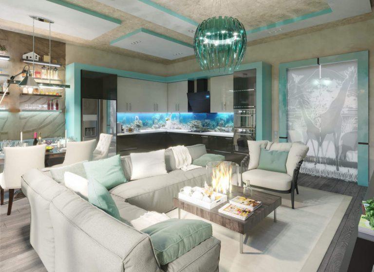 Дизайн кухни в квартире, современный стиль, новое, модерн