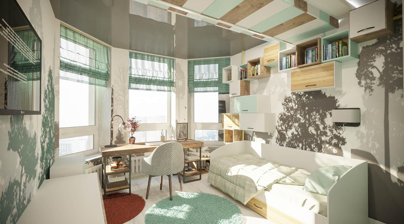 Интерьер детской комнаты спальни идеи эркер, киев, современный стиль цвета