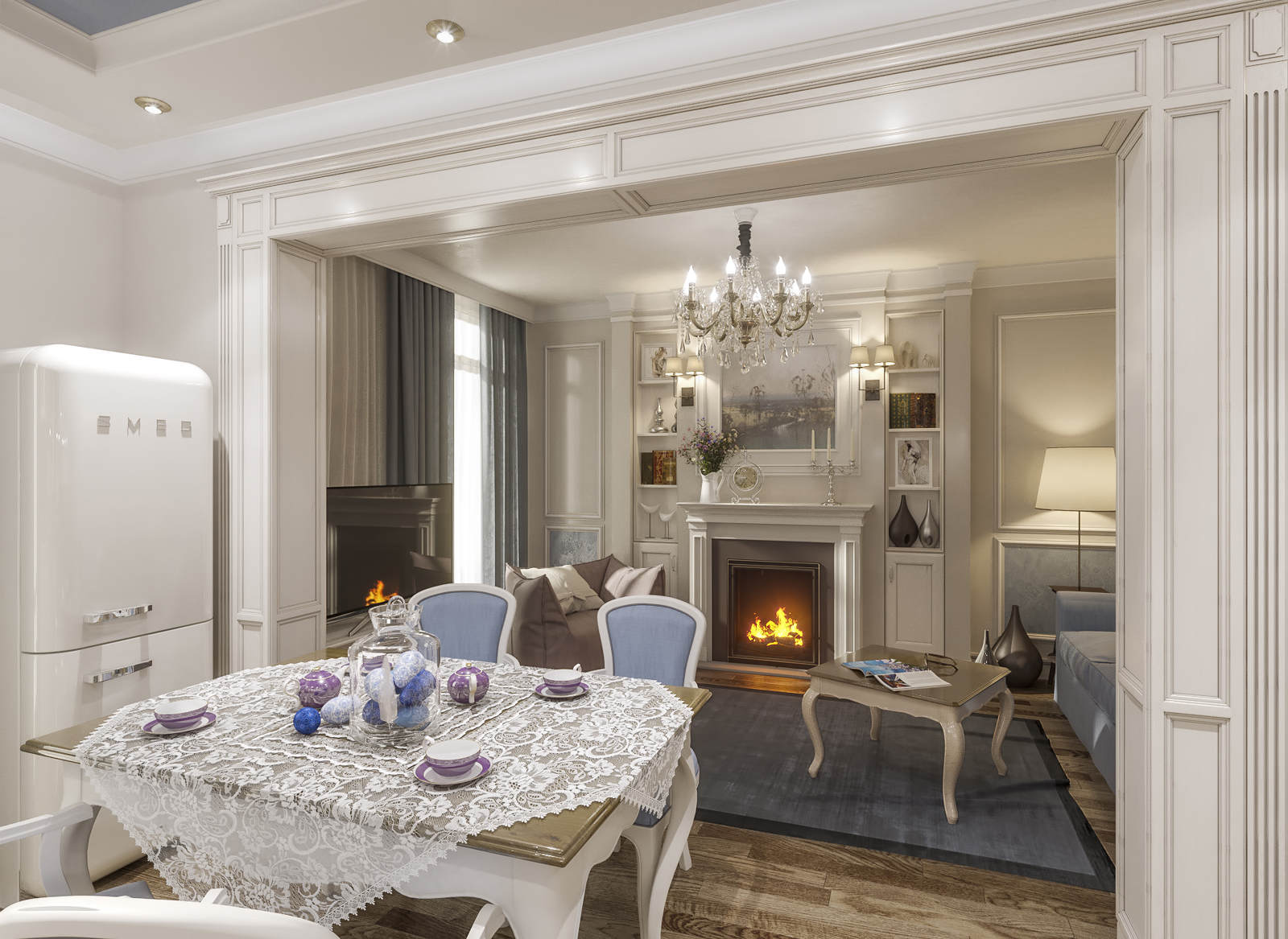 Дизайн гостинной в стиле прованс, класика фото Киев. Камин. ЖК Комфорт таун