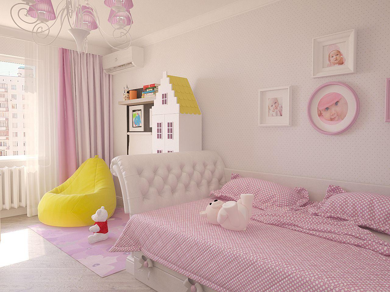 Дизайн интерьера детской комнаты Киев для девочки, белый розовый неокласика, легкая класика современный