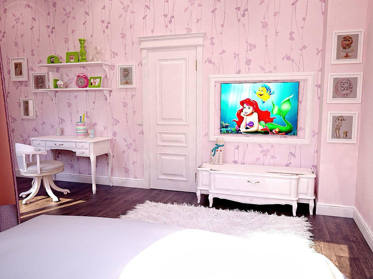 Дизайн детской комнаты Киев нео класика прованс, вид на телевизор