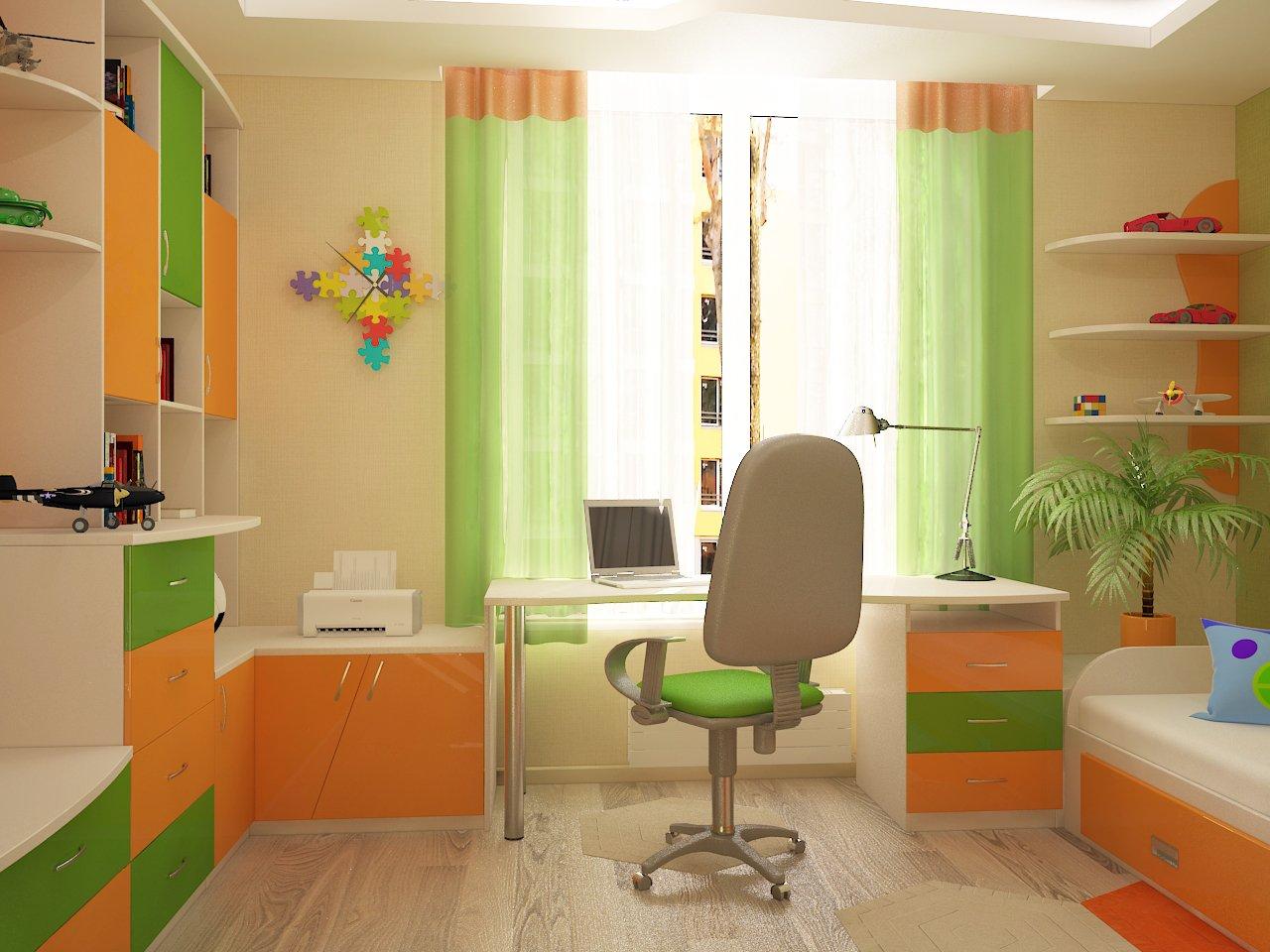 Дизайн детской спальни фото Киев.робочее место, оранжевый яркие цвета