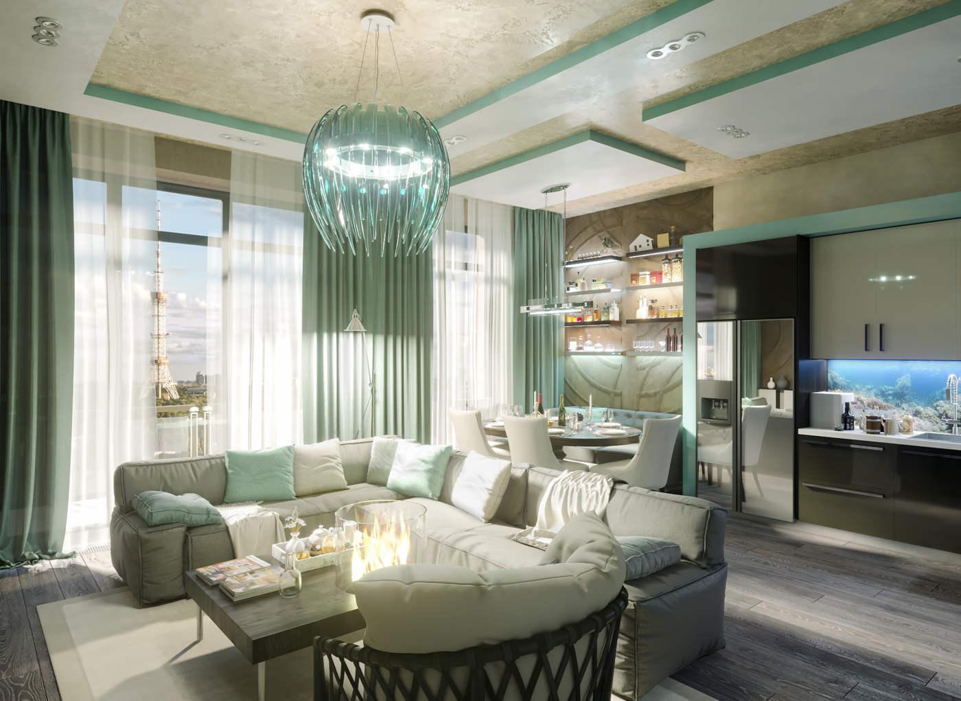 Дизайн нтерьера гостинной Киев студия современный стиль