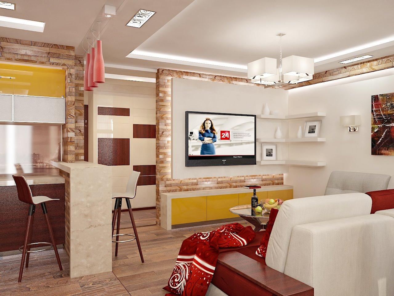 Дизайн кухни в квартире Киев в контрастных цветах