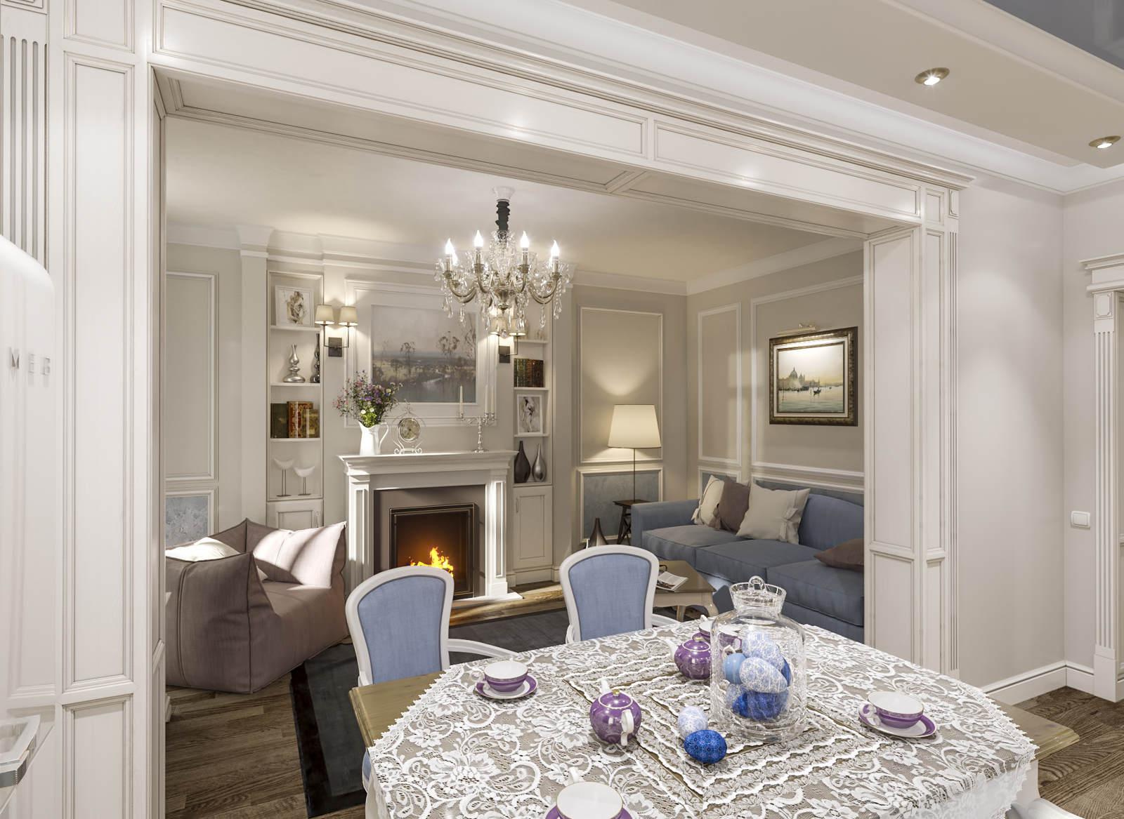 Дизайн нтерьера гостинной Киев вид на камин в класике, столовая ЖК Комфорт Таун