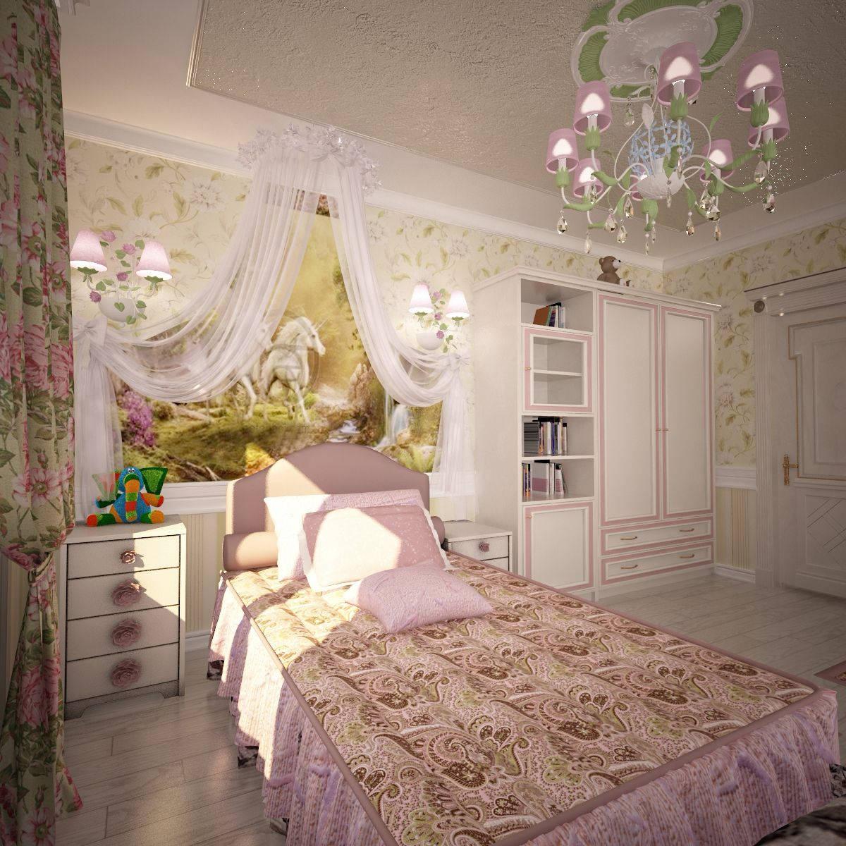Дизайн детской комнаты Киев с балдахином кровать, розовый цвет