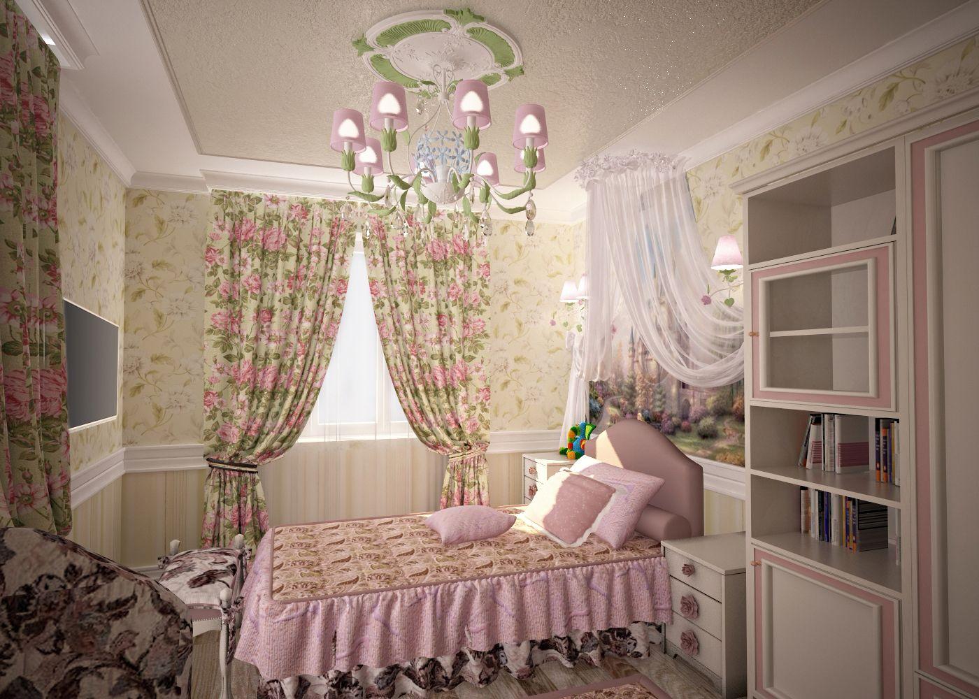 Дизайн детской комнаты Киев спальня классика, прованс винтаж, цветы на стенах розовая