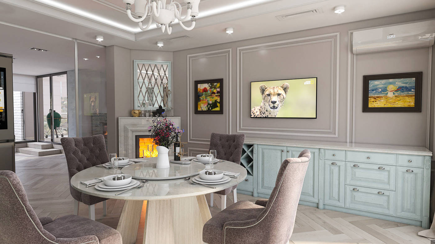 Дизайн нтерьера столовой, кухни Киев классика стиль