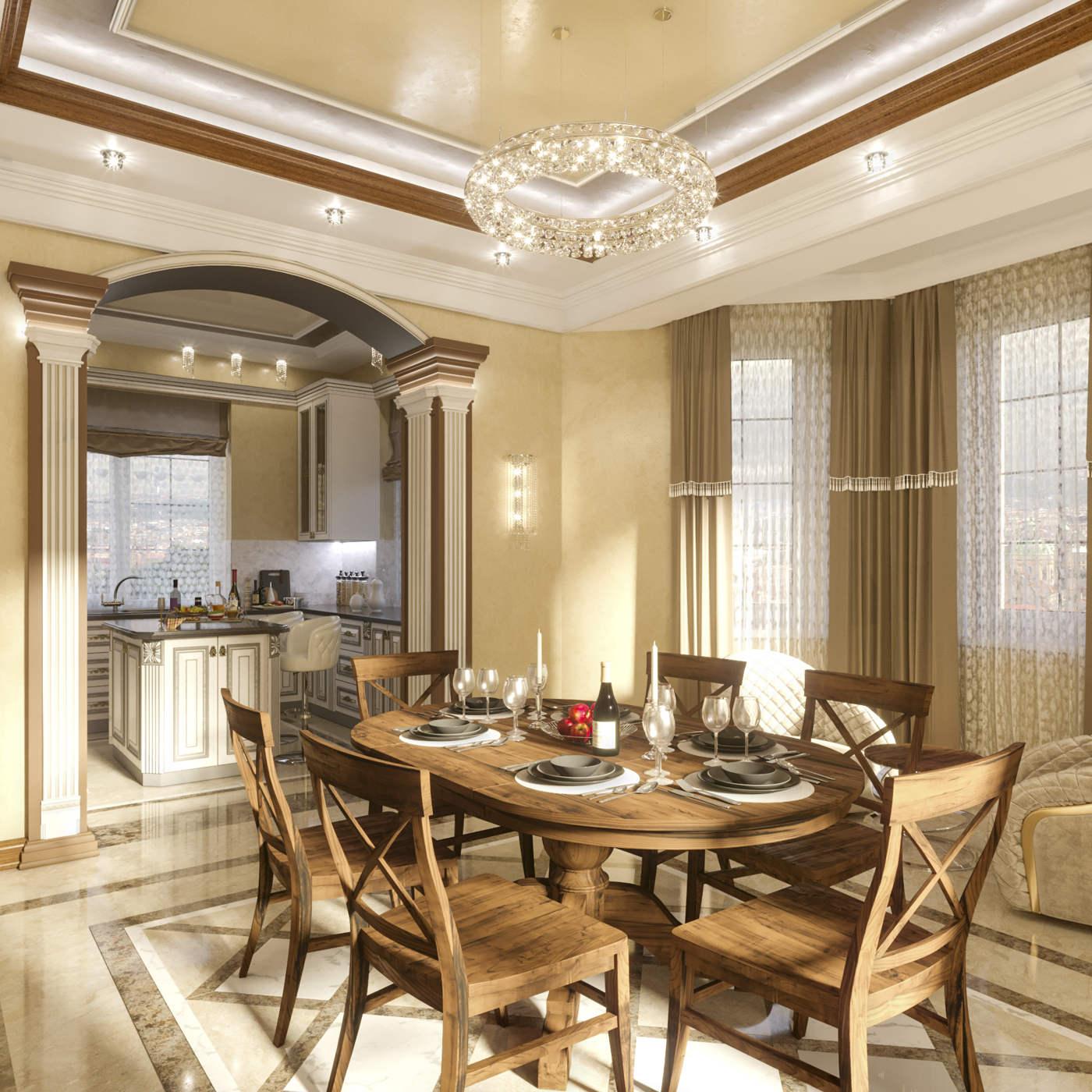Дизайн кухни в доме Ирпень класика колоны стол, дерево