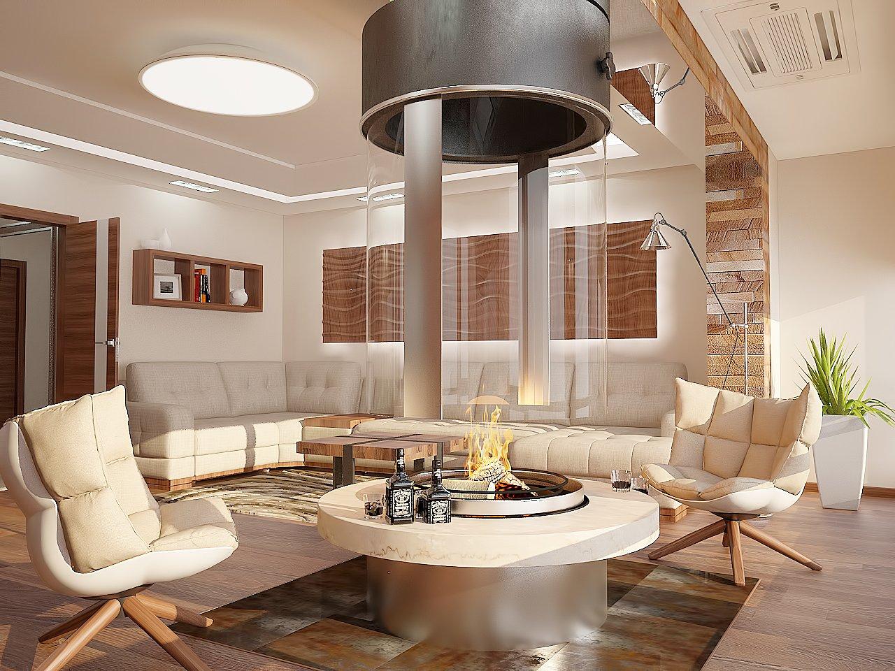 Дизайн нтерьера гостинной Киев, ЖК Акварели, Камин в гостиной