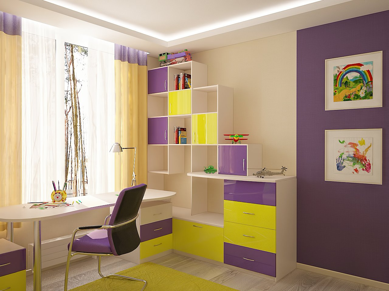 Дизайн детской комнаты Киев современный стиль, рабочее место