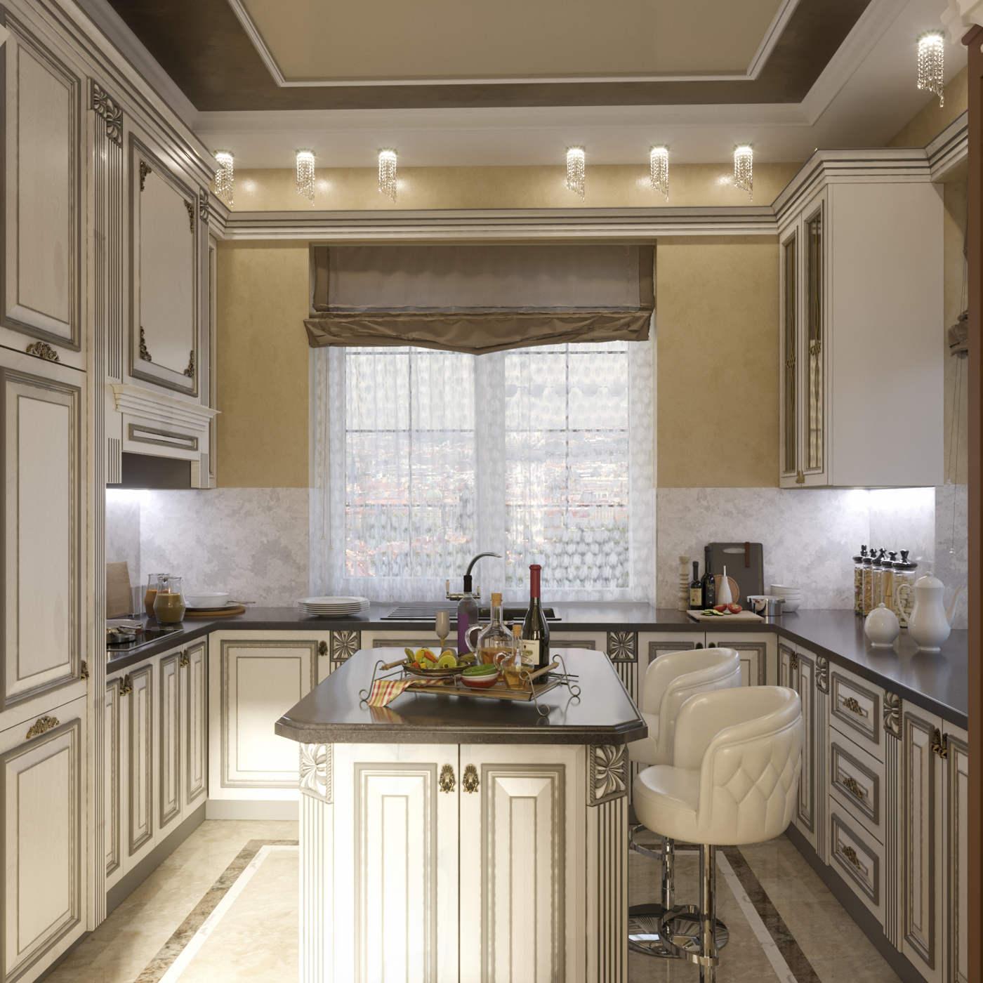 Дизайн кухни в квартире Киев классический стиль остров дерево фасады белые резные