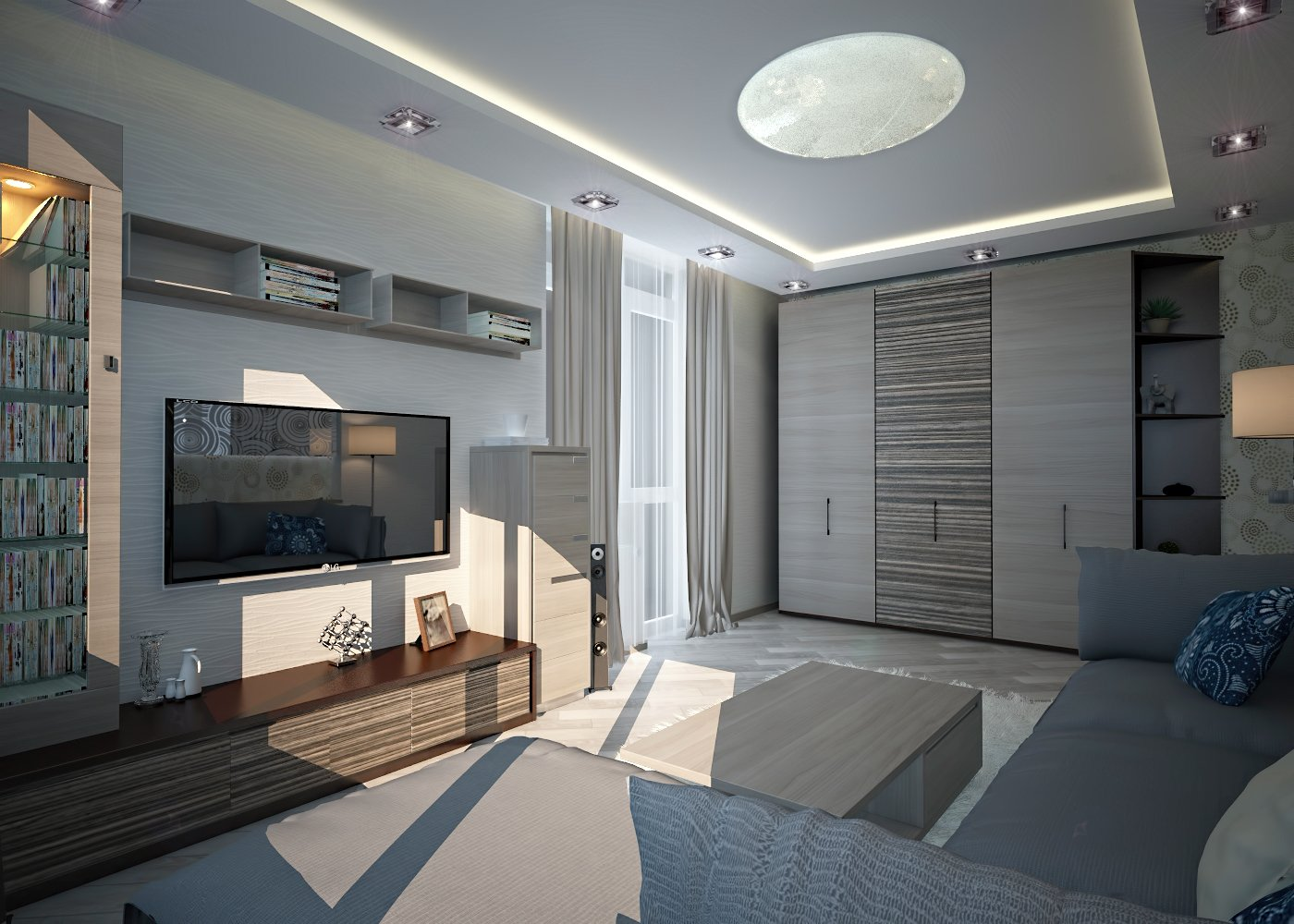 Дизайн нтерьера гостинной Киев скандинавский стиль, дерево в интерьере