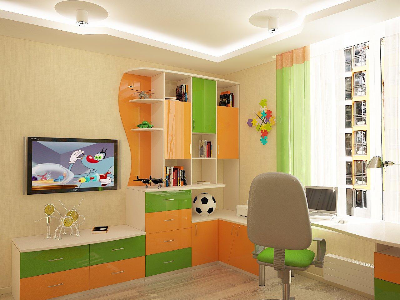 Дизайн детской комнаты Киев оранжевый цвет, яркие цвета, рабочее место