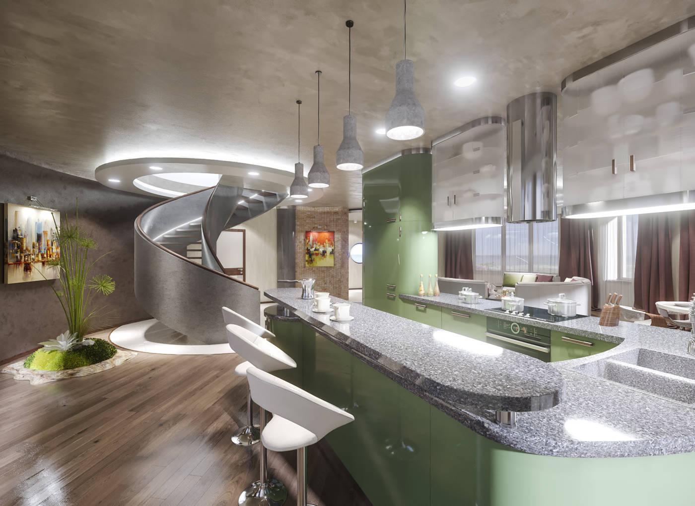 Дизайн кухни в квартире Киев дом буча в современном стиле, модерн, барная стойка лестница