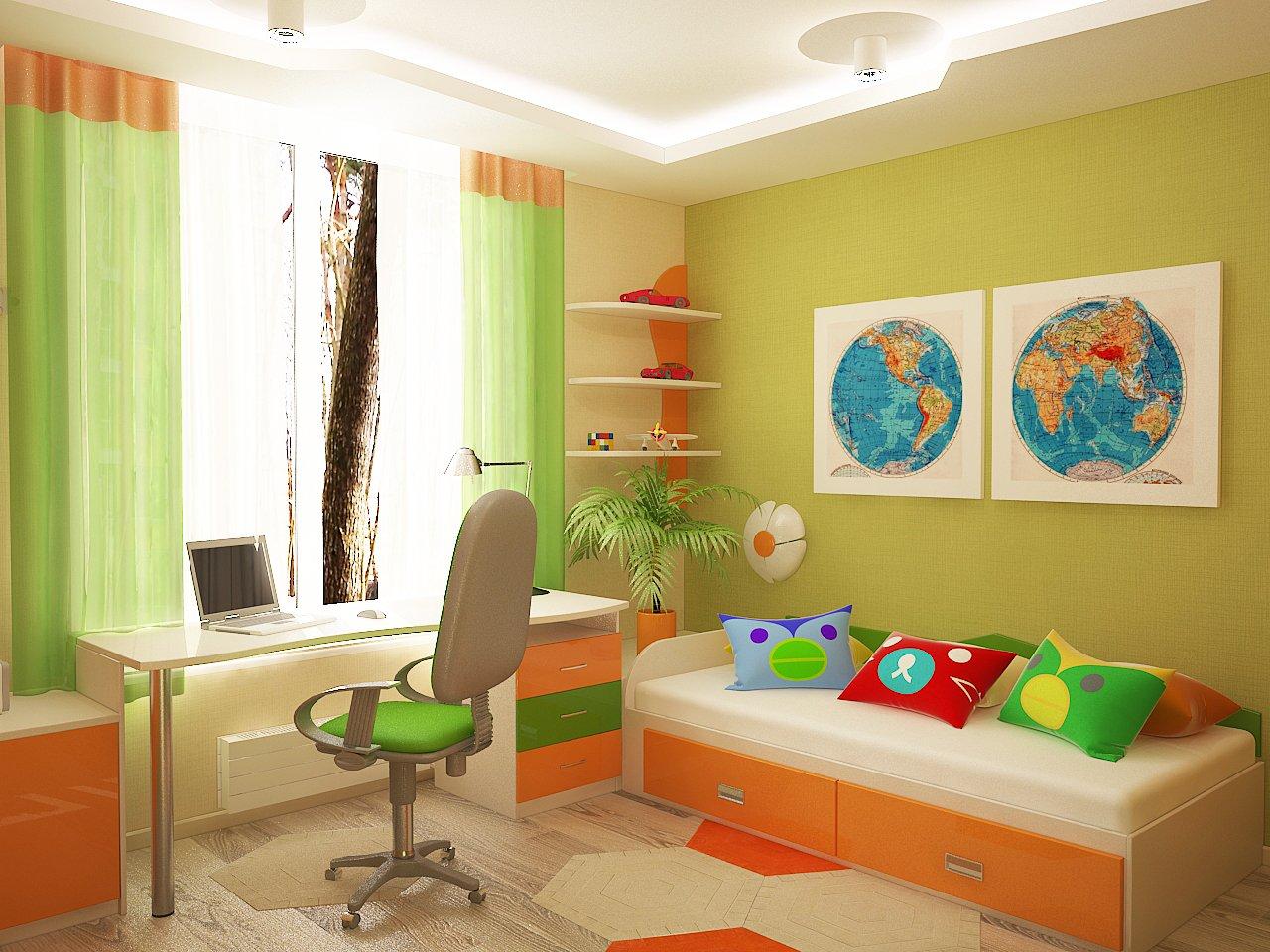 Дизайн детской комнаты Киев для школника, рабочее место, яркие цвета, карта мира на стене