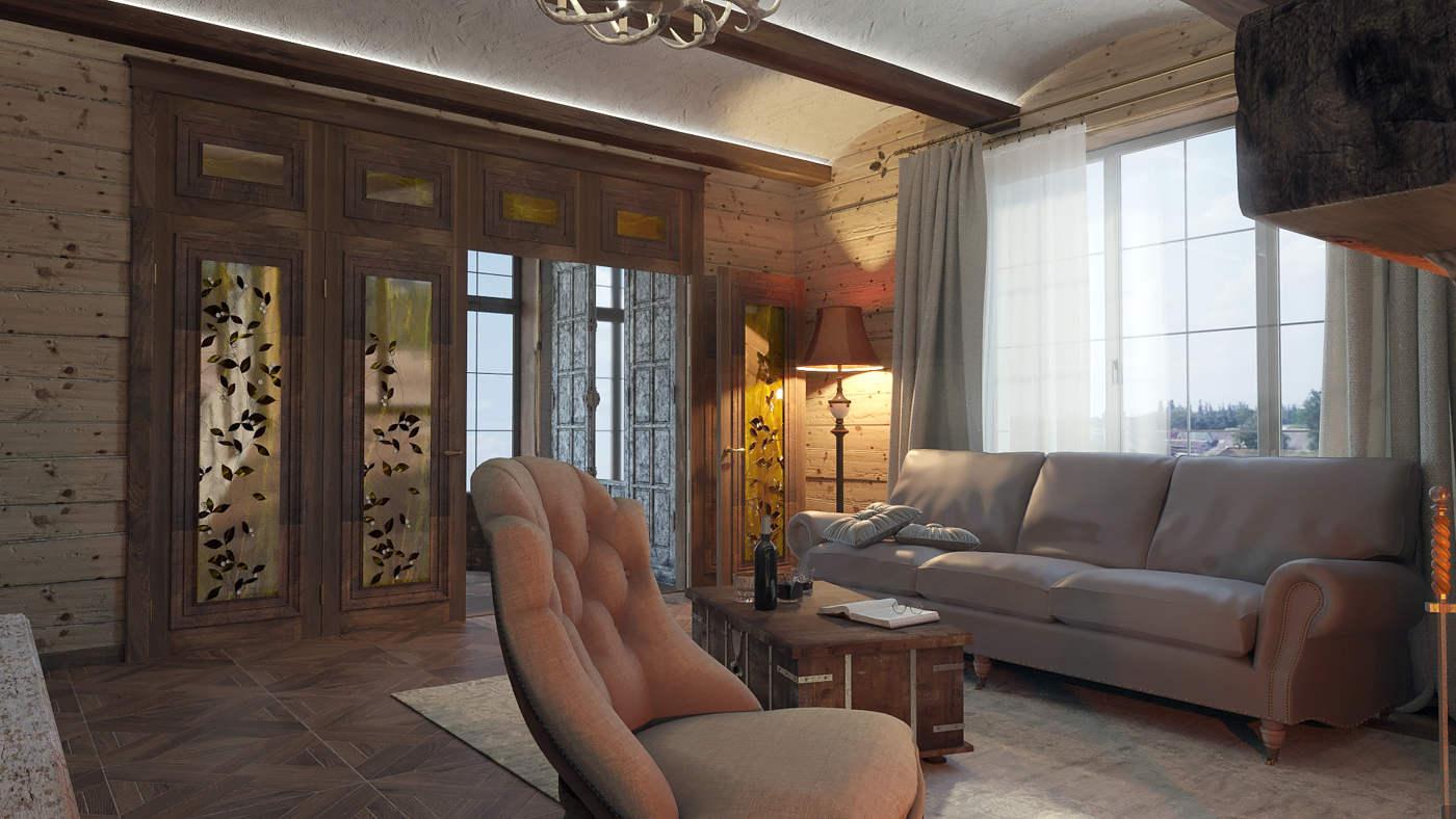 Дизайн нтерьера гостинной Киев дом в дереве, классика