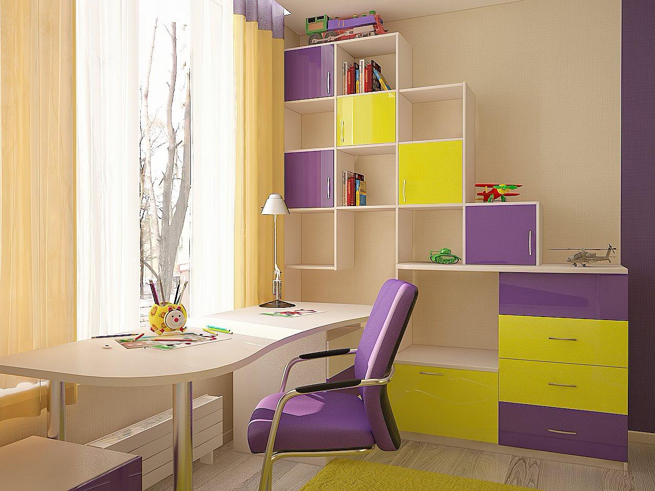 Дизайн детской комнаты в ярких тонах Киев.