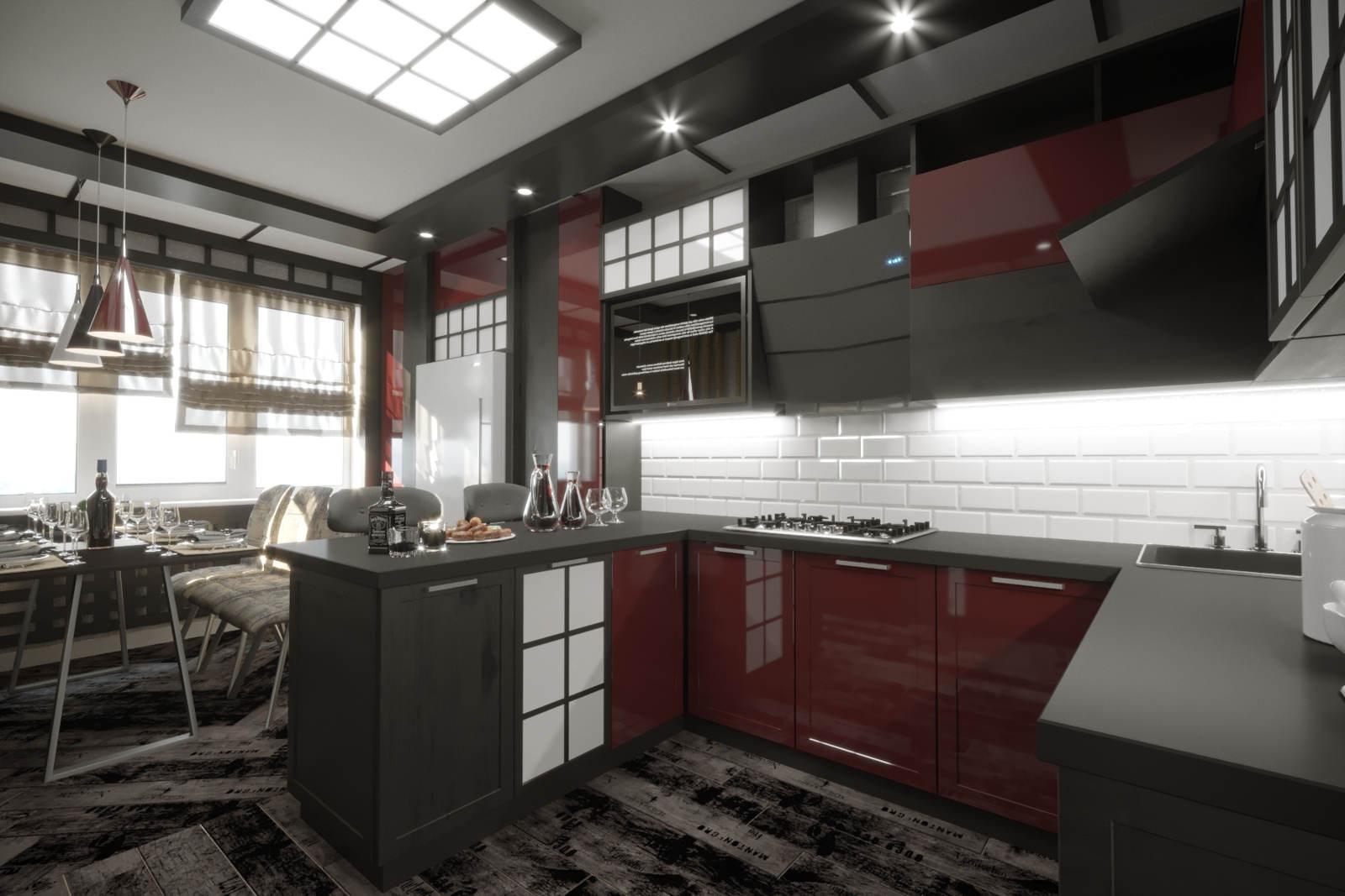 Дизайн кухни в квартире Киев в китайском стиле