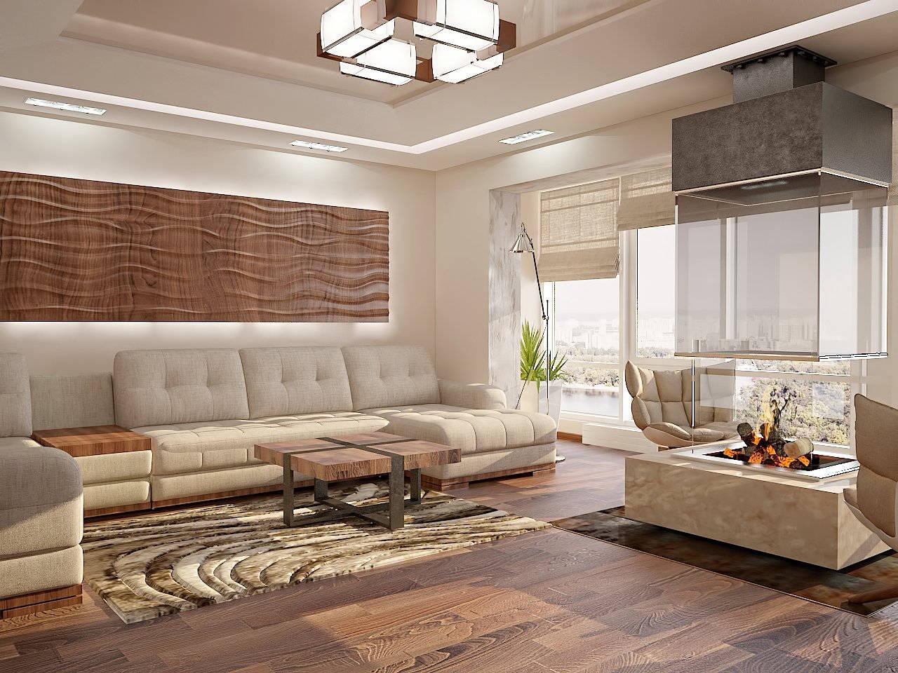 Дизайн нтерьера гостинной Киев ЖК Аристократ камин прямоугольный в квартире