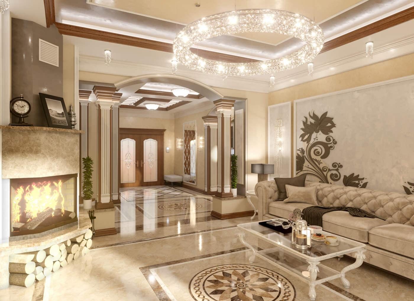 Дизайн нтерьера гостинной Киев Дом Буча класический стиль, классика колоны