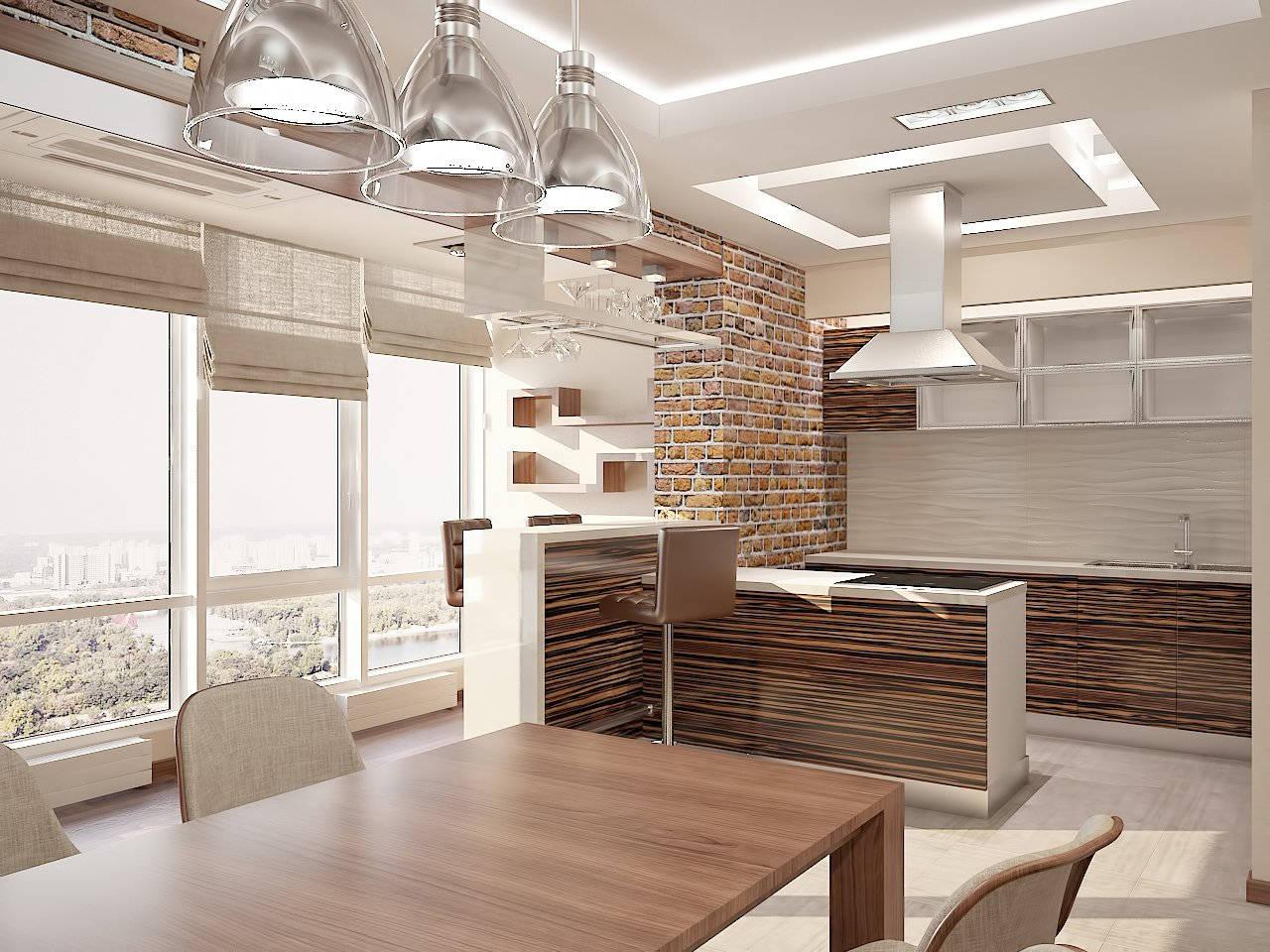 Дизайн кухни в квартире Киев под дерево