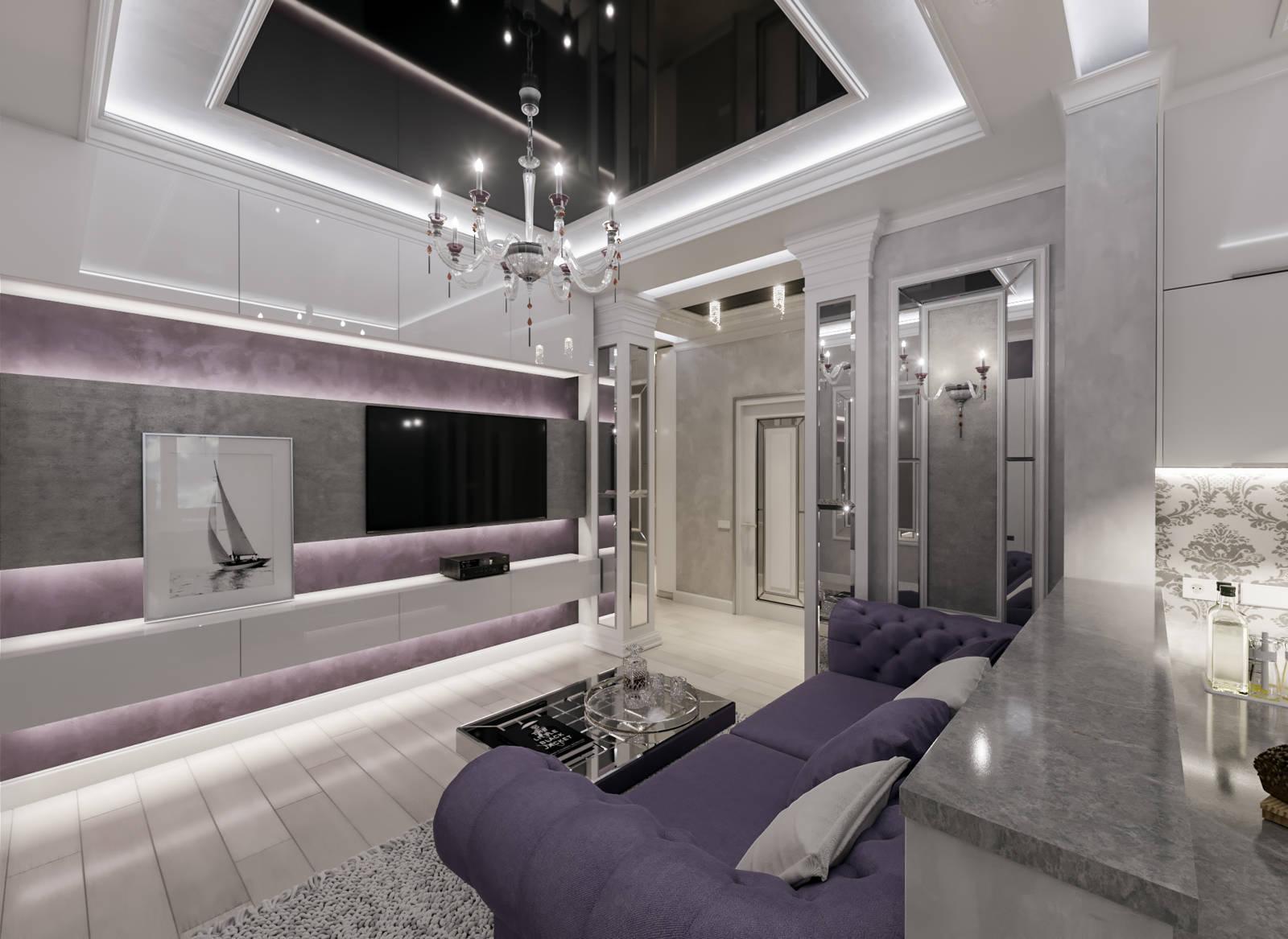 Дизайн нтерьера гостинной Киев ЖК Заречный, классика, современный дизайн