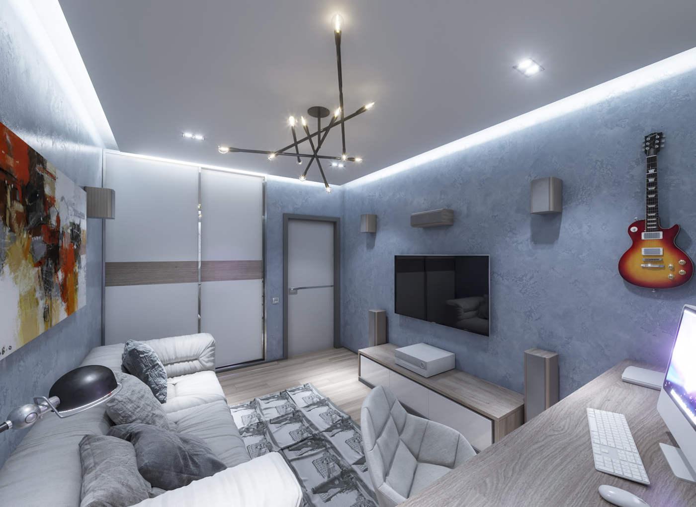 Дизайн детской комнаты для подростка модная, темные цвета синий, для взрослого, комната для отдыха