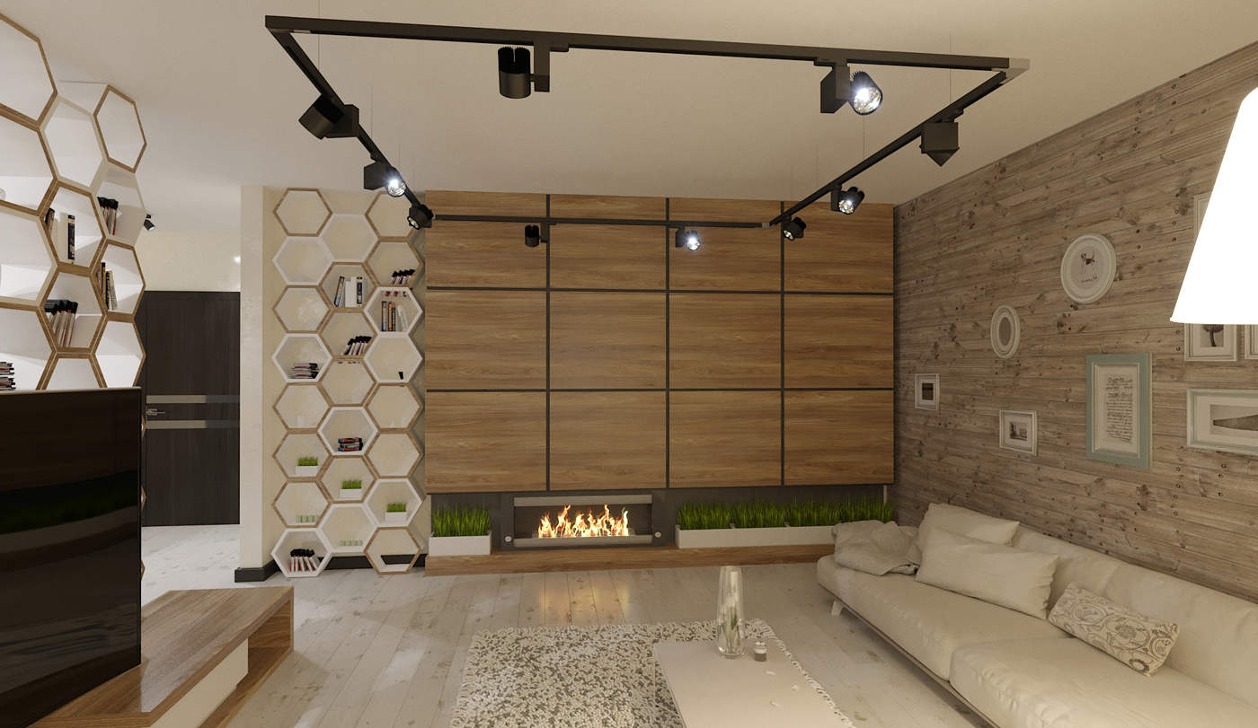 Дизайн нтерьера гостинной Киев лофт с елементами скандинавского стиля. панели на стенах под дерево