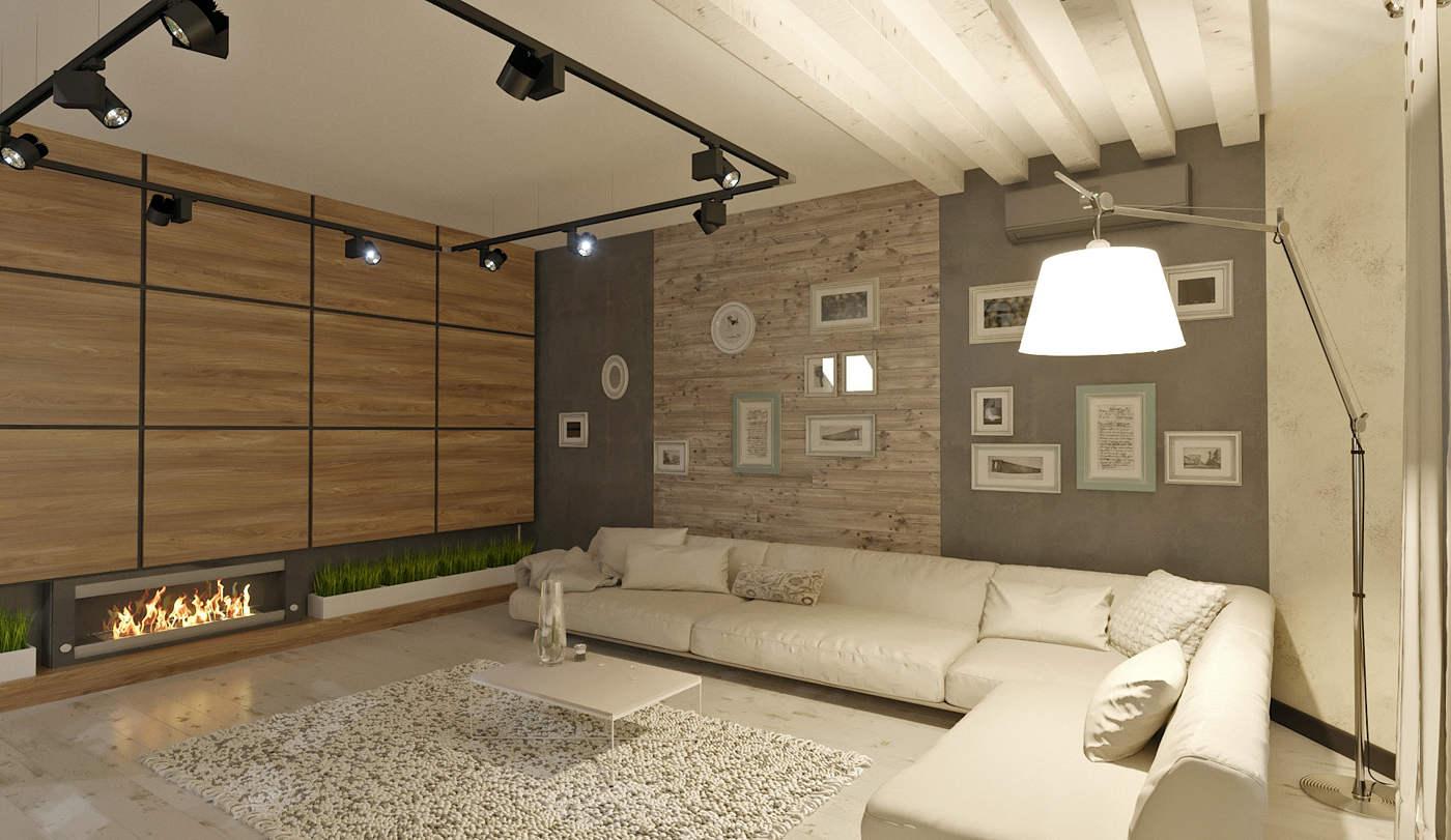 Дизайн нтерьера гостинной Киев лофт с камином и панелями из дерева на стенах
