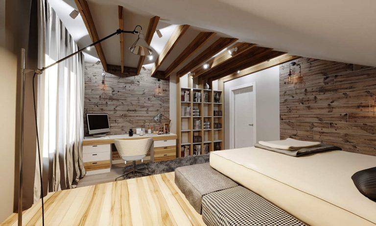 Дизайн спальни Киев в современном стиле, дерево на потолке и на стенах, новые идеи, Альтер Эго Малахит, Варшавский квартал