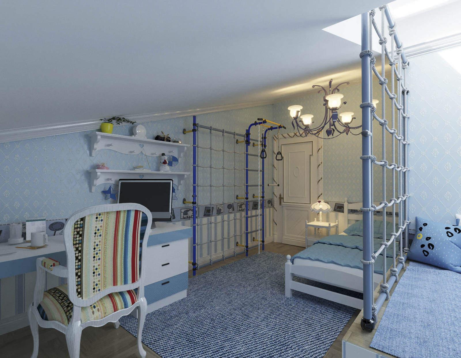 Дизайн детской комнаты Киев спортивный уголок шведская стенка рабочее место нео классика, стильная