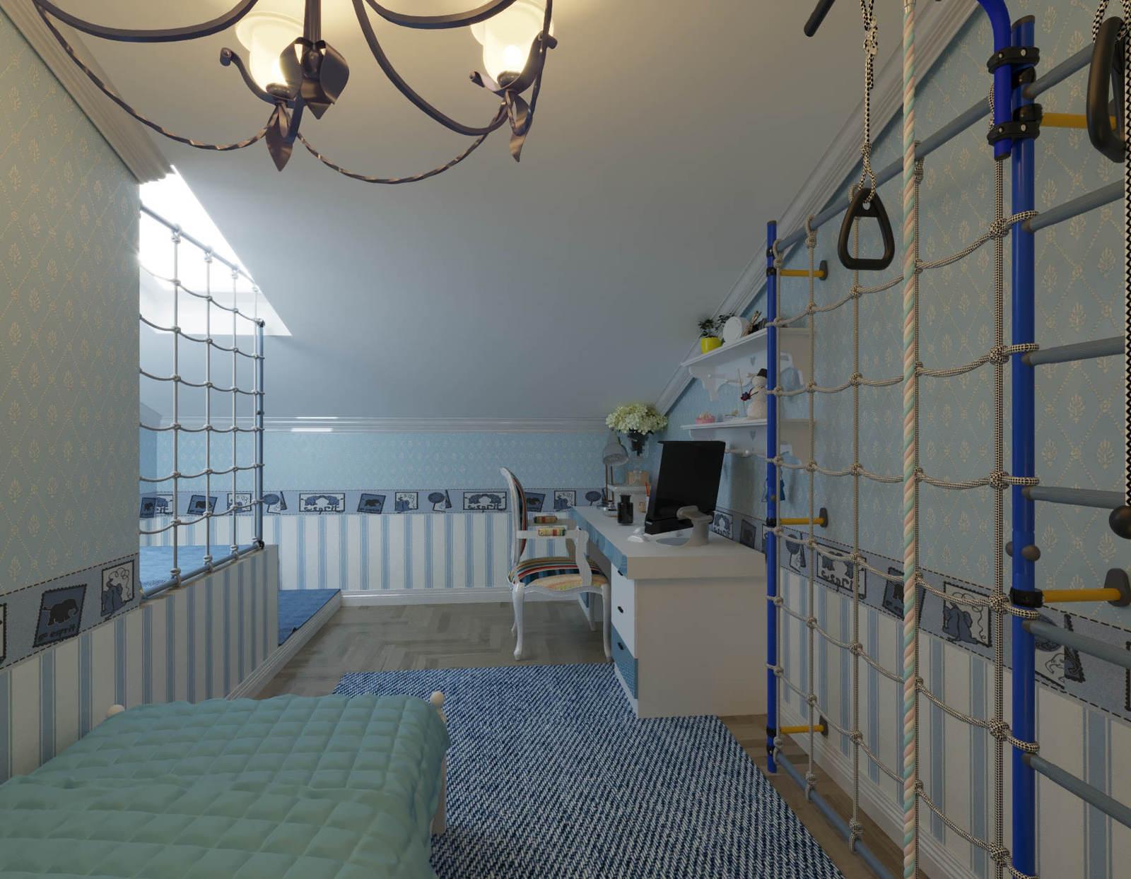 Дизайн детской комнаты Киев с спортивным уголком, шведская стенка, легкая классика, прованс