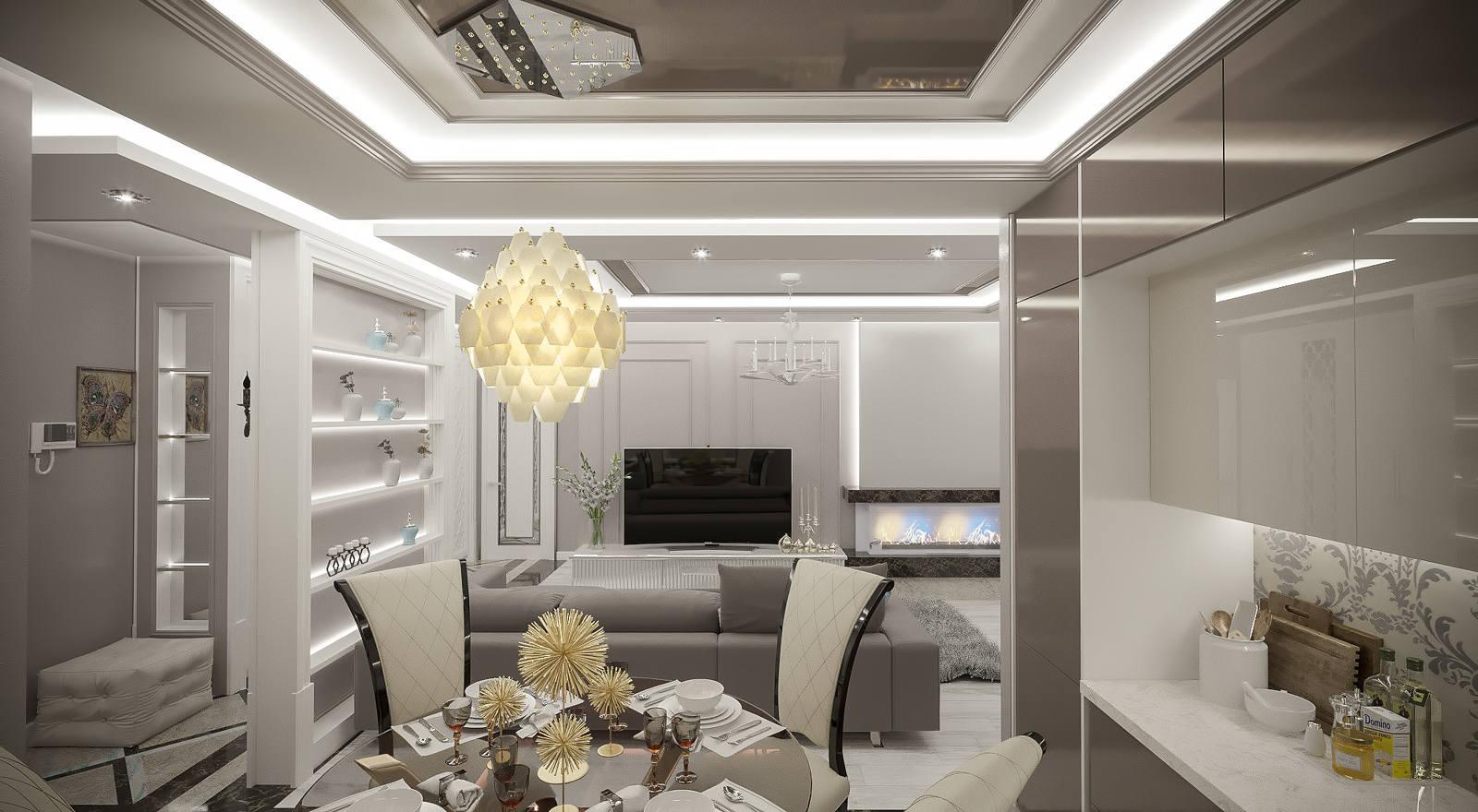 Дизайн нтерьера гостинная и кухня в современной класике