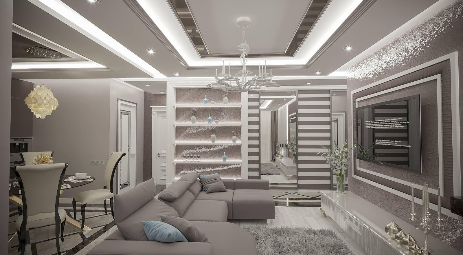 Дизайн нтерьера гостинной Киев, диван, зеркала на потолке