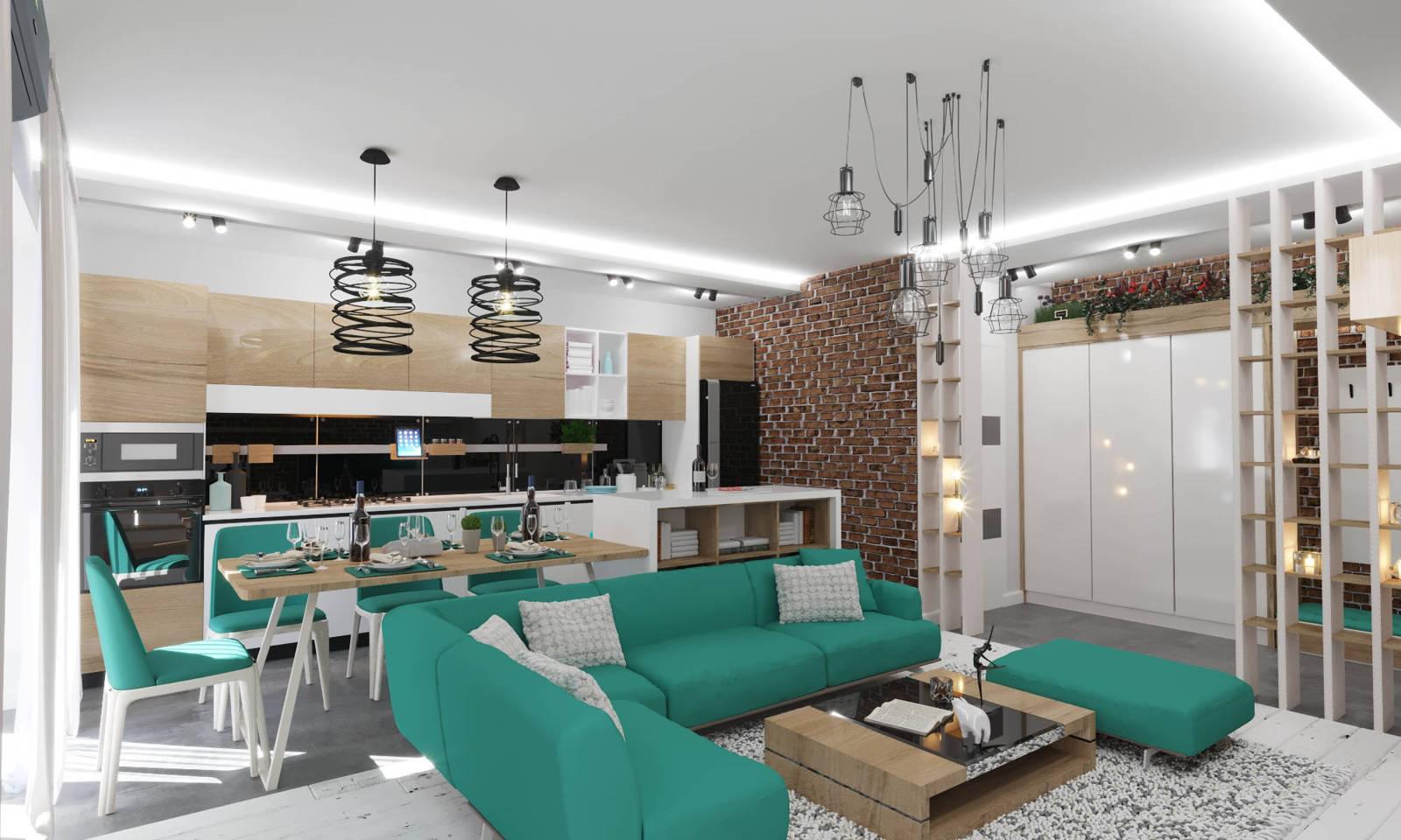 Дизайн кухни в квартире Киев модерн, кирпич на стенах