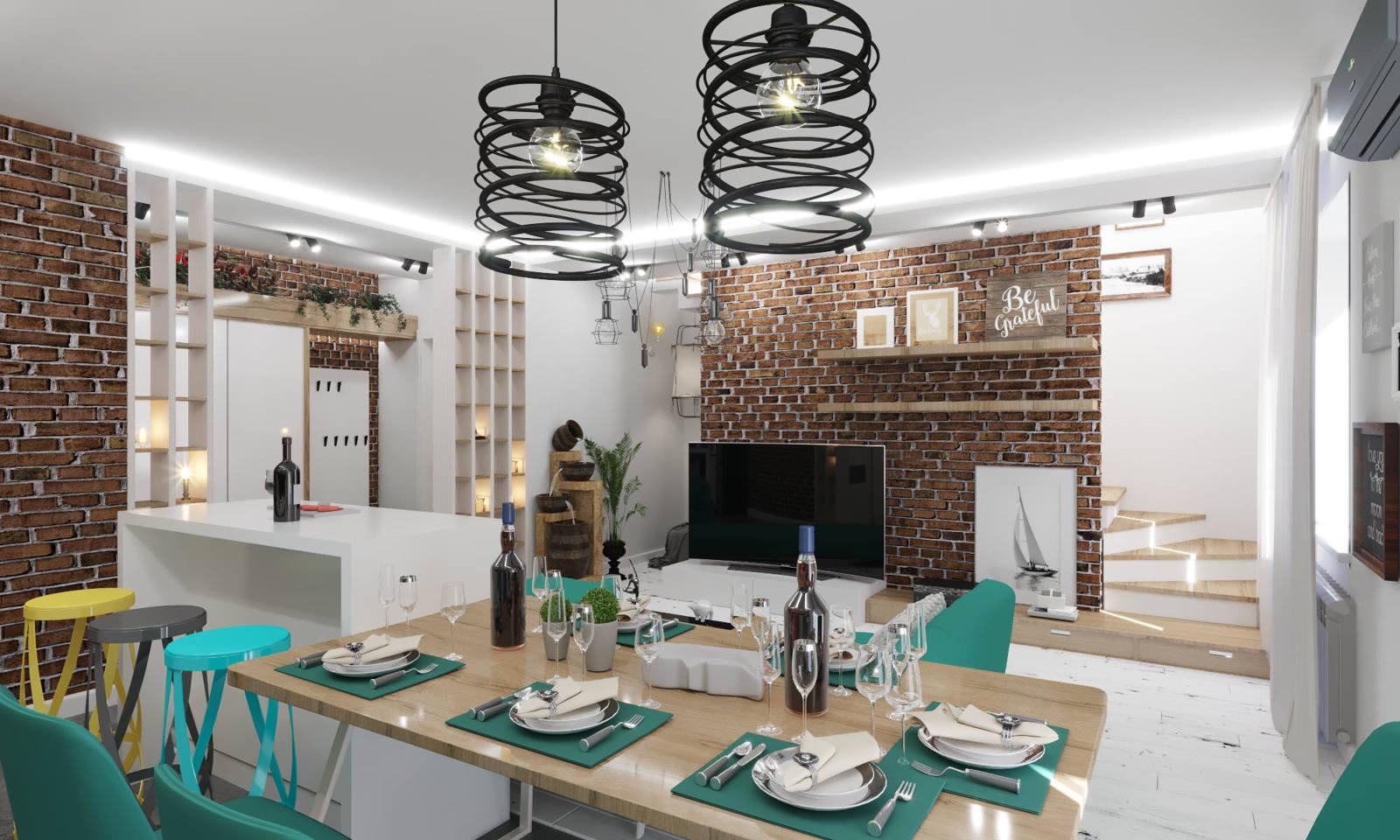 Дизайн нтерьера гостинной Киев современный стил кирпич на стене