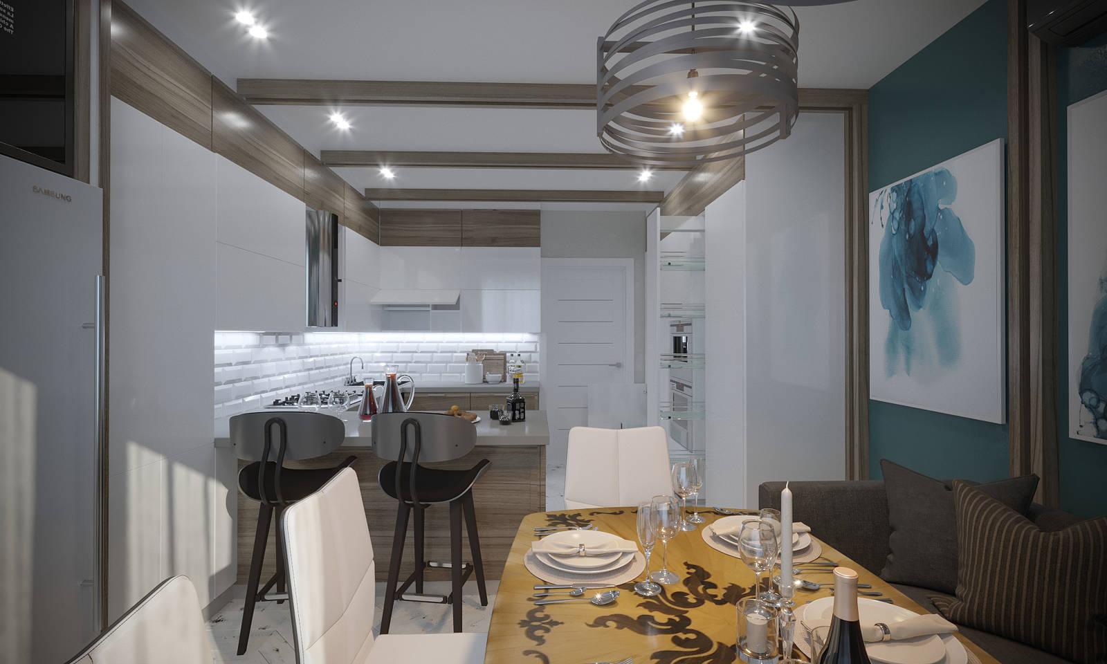 Дизайн кухни в квартире Киев в сканднавском стиле