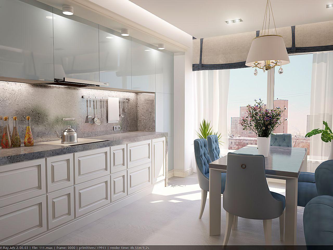 Дизайн кухни в квартире Киев Закревского, легкая класика, прованс